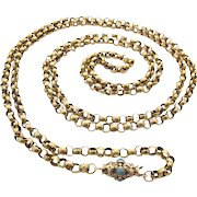 Rare Antique Victorian 14ct Gold Necklace pea chain with turquoise clasp