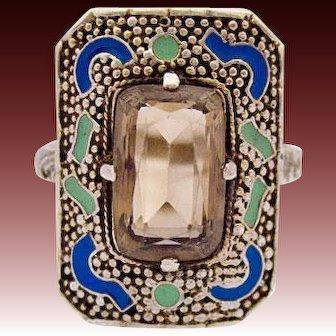 Theodor Fahrner Art Deco Sterling Silver gilt Ring Enamel transparent smokey quartz 30s