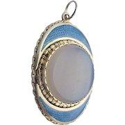 Antique Victorian 925 Sterling Silver Pendant light blue Enamel Art Nouveau chalcedony