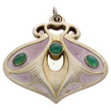 Meyle & Mayer Art Nouveau 900 Silver Locket Mirror Enamel Pendant Green Chrysoprase