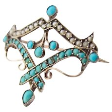 Victorian Turquoise Silver gilt Brooch Freshwater Pearl c.1860