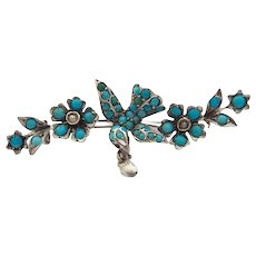 Magnificent rare antique Victorian Silver Brooch bird with a heart Turquoise fresh water pearls c. 1860