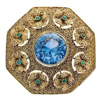 Theodor Fahrner Art Deco brooch blue topaz turquoise 30s
