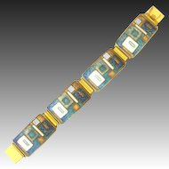 70s Enamel Modernist Bracelet Metal gilt geometric forms