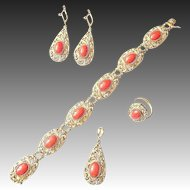 Art Deco Sardegna Coral Set Earrings, Bracelet, Ring and Pendant in Silver plated with Gold
