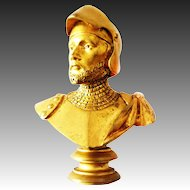 Art Nouveau Signet Seal Knight Bust signed Luca Madrassi Bronze gilt