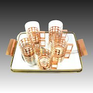 5-part Tea Glasses Set with tray signed Sigg Switzerland 50s