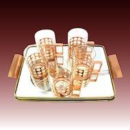 5-part Tea Glasses Set with tray signed Sigg Switzerland 50s