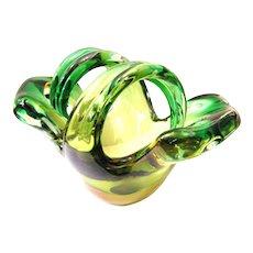 rare heavy Murano Bowl 50s / 60s green yellow thick-walled Glass