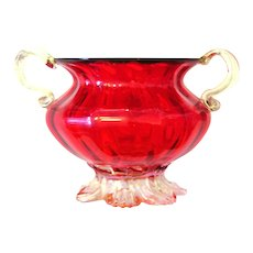 Murano Venini red Glass Venetian Vase Gold powder