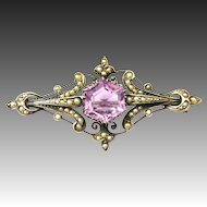 Antique Victorian Silver Brooch Amethyst river freshwater pearls c. 1850