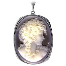 Agate Cameo pendant fitting in white gold 14ct 585