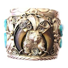 Navaho Navajo Bear Turquoise & Coral Silver Bracelet M. Thomas Jr