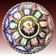 Gorgeous antique Micro Mosaic Brooch  c. 1860 rare Millefiori Micromosaic