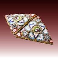Micro mosaic belt buckle Millefiori gilt c. 1860 Micromosaic