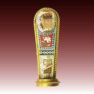 Antique Historism Micro Mosaic Signet Seal Millefiori metal gilt c. 1860 1870 Micromosaic