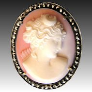 Cameo Diana Silver Brooch Pendant Carved Angel Skin Coral Marcasites