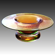 little Glass Bowl gold green colored iridescent by Eisch, Bavarian Wood
