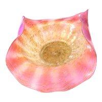 Antique Murano Venini Art Nouveau rose Opaline Glass Bowl 1900 gold powder rare