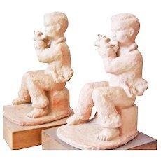 Art Deco bookends ceramic Figures  signed Dornberg pedestal body  wood transverse flute player earthenware