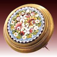 rare antique Historism Micro mosaic Millefiori flower brooch c. 1860 Micromosaic
