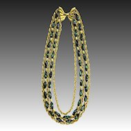 Trifari Confetti Art Glass Multi Strand Necklace