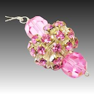 Paste necklace white pink glass stones fashion jewelry 50s