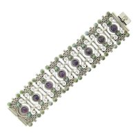 Rafael Dominguez sterling silver bracelet Mexico 60s signed amethyst turquoise