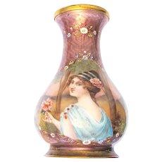 Art Nouveau translucent Enamel Vase Enamel Painting Milano