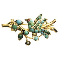 Magnificent rare antique Victorian Silver gilt Brooch bird with Turquoise fresh water pearls c. 1860