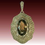 Vintage German Theodor Fahrner sterling silver vermeil pendant marcasite smoky quartz 30s