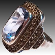 Vintage German Theodor Fahrner sterling silver ring blue spinel 30s