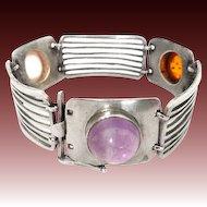 Silver Bracelet Amethyst Amber Modernist cnp 70s