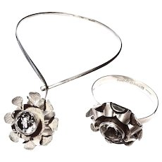 Silver Necklace neck ring and bangle bracelet Alton K.E Karl Erik Palmberg swedish design