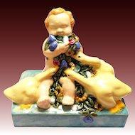 Art Nouveau ceramic figure Putto flowers ducks Fachschule Keramik Bechyn e ceramic pottery