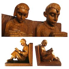 Art Deco bookends carved oak wood reading girl and boy 30s