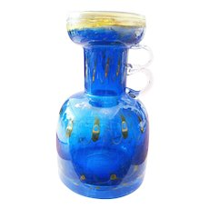 blue massive Studio Glass Vase peacock eye  Eisch yellow bottle mouth