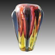 Vintage large heavy 50s  Murano Glass Vase red blue yellow c. 1950