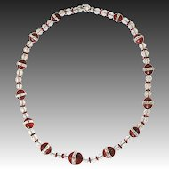 Art Deco Necklace Carnelian Mountain Crystal  30s cut
