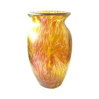 Iridescent Designer Art Glass Vase signed Franz Austen yellow pink