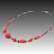 Bohemian Art Deco paste necklace red black glass 30s fashion jewelry