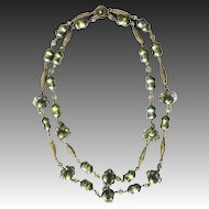 50s Bohemian necklace paste metallic green fashion jewelry brass