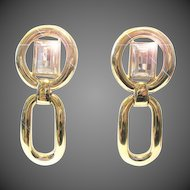 Christian Dior ear clips earrings gilt paste stones 80s