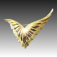 Christian Dior Couture wings pin brooch gilt gold plated signed