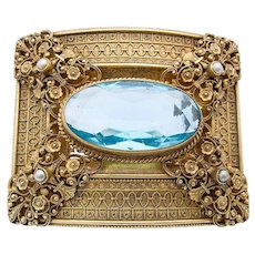 Art Nouveau belt buckle Turriet & Bardach metal gilt blue synthetic stone