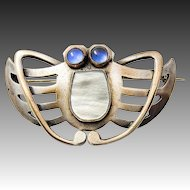 Art Nouveau Butterfly Brooch Gablonz  Bohemia Silver plated metal blue paste mother of pearl