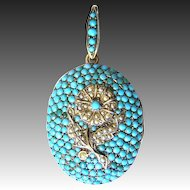 Magnificent Antique Victorian Biedermeier silver locket pendant turquoise sweet water pearl gilt