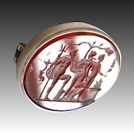 antique Intaglio cameo silver brooch with a carnelian