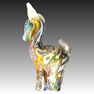 Murano Millefiori Glass Object Horse Figure Gold dust melting