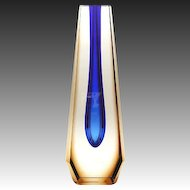 Brown and Blue Sommerso Glass Vase by Pavel Hlava Bohemia 1960s